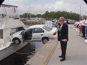 Picture fight.-car-crashes-into-boat-weird-crash
