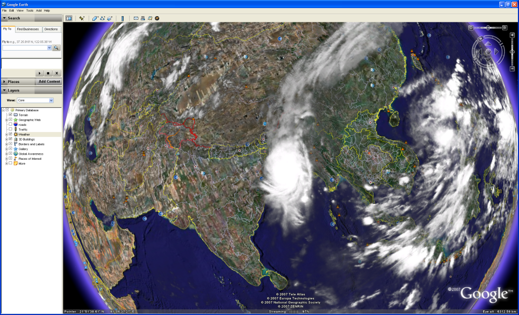 Cyclone on Google Earth - see live weather! - AOA Forums